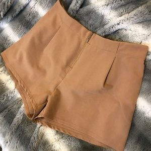 Khaki zip front plus size flowy shorts